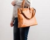 Mustard  genuine leather tote bag , woman handbag, big bag, crossbody bag, genuine leather bag / diaper bag