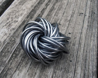 Fidget Puzzle Ring, Deep Thought: Stainless Steel Office Toy, Oddity Stress Ball, Chainmail Mobius Trinket, Large size Curiosity