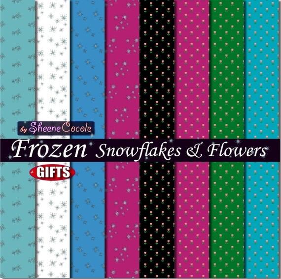 Frozen digital paper Frozen birthday Frozen invitation Frozen party decor Snowflake Flower,disney frozen background anna frozen decoration