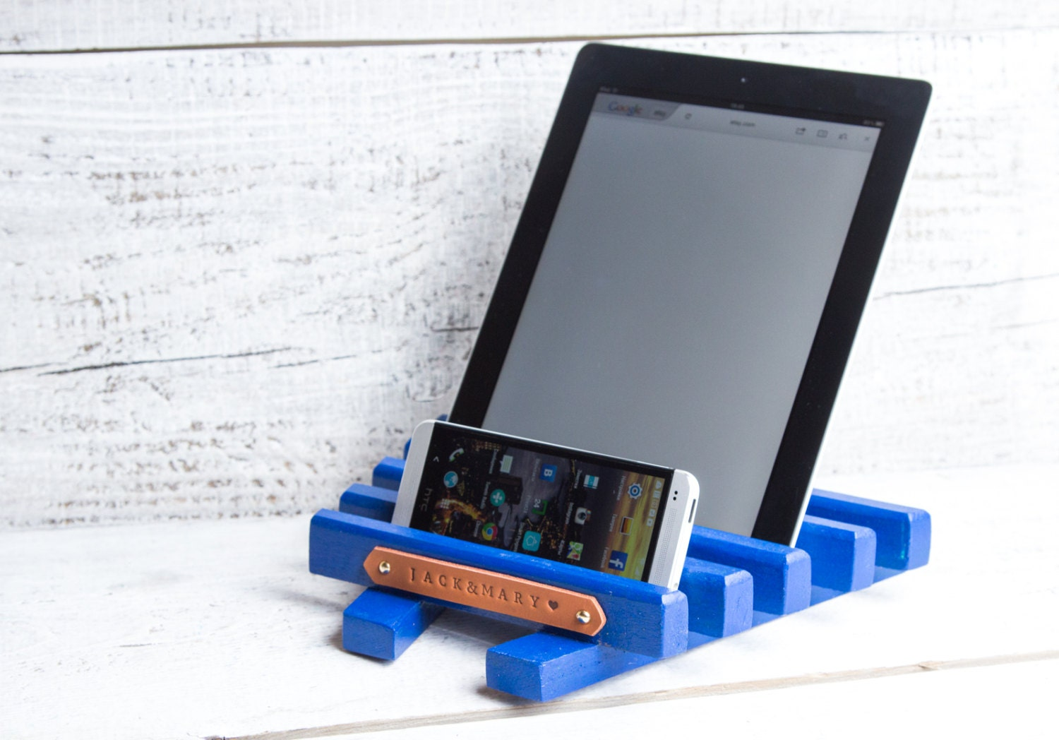 Personalized Wooden Tablet Holder. IPad Stand Fits By ApricotArt. Full resolution‎  portrait, nominally Width 1500 Height 1048 pixels, portrait with #004AC0.