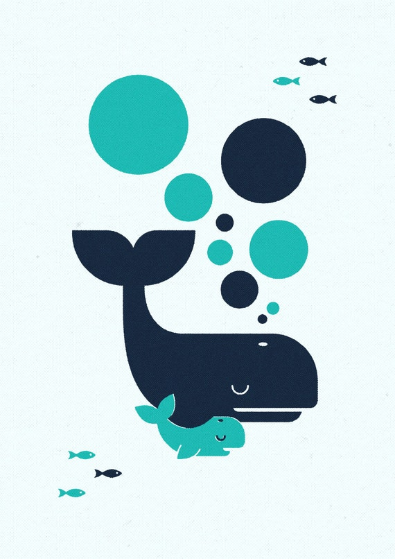 Whale and Baby, Retro Print, Wall Art, Home Decor