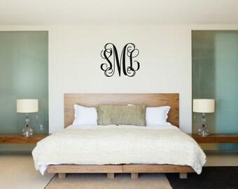 Vine Monogram Wall Decal Monogram Wall Vinyl Monogram For Wall Master Bedroom Girl or Boy Bedroom Nursery Wall Decal