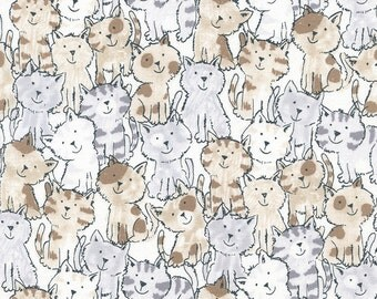 Cat Fabric, Babes in Farmland C3123 Brown Timeless Treasures, Kitty Fabric, Cat Quilt Fabric, Cotton Fabric Yardage