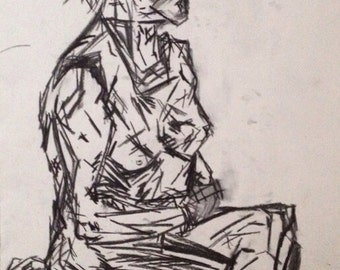 Large Original Charcoal Life Drawing - Female Model