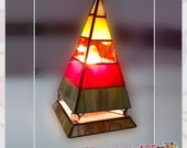 Stained glass lamp, colorful pyramid table lamp