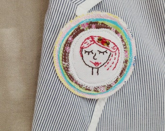 Dona - fabric brooch with hand embroidery.