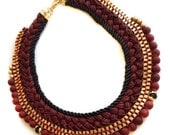 Wine, Dark red beaded golden brass, Rope / Thread / Cord choker-collar elegant  trendy Tribal Ethnic Oriental & Modern statement necklace