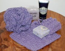 Spa Set -- Massage Soap Bag, Washcloth and Bath/Shower Puff