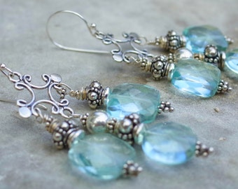 Sky blue earrings chandelier blue statement earrings quartz blue gemstone chandelier earrings oxidized Bali sterling silver earrings