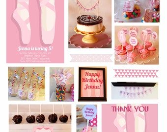 Pink Ballet Birthday Party Printable Package & Invitation, INSTANT DOWNLOAD, Edit Yourself with Adobe Reader, Girl Birthday, Dance Party