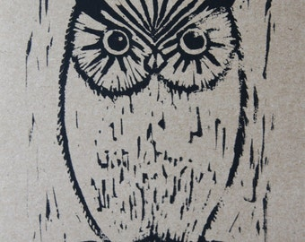 Greeting Card >> Owl Blank Note Card <<  Linocut - 5x7