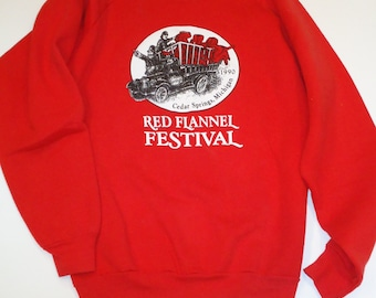 Vintage Sweatshirt Red Flannel Festival Michigan 1990 Graphic Sweatshirt Size Large XL Humorous Clothing