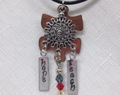 Autism necklace - autism jewelry free shipping Copper puzzle piece with Swarovski crystals hand stamped. By Geneva's Sky