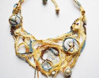 Ceramic necklace - Beaded necklace : freeform peyote-ceramic elements