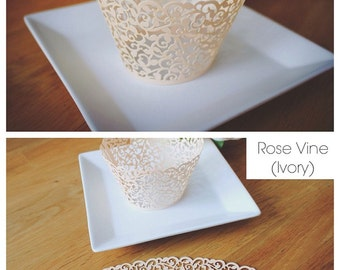 Cupcake Wrappers (CW-01 Rose Vine - Ivory)