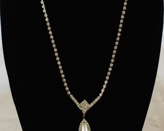 Vintage Pearl and rhinestone necklace and earring set