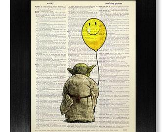 CHILDREN Art Print, Star Wars POSTER, KIDS Room Decor, Playroom Wall Art, Funny College Graduation Gift Him Teen, Yoda & Smiley Face Balloon