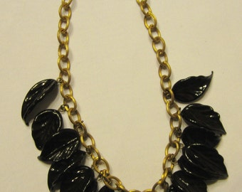 Midnight Navy Glass Leaf Necklace
