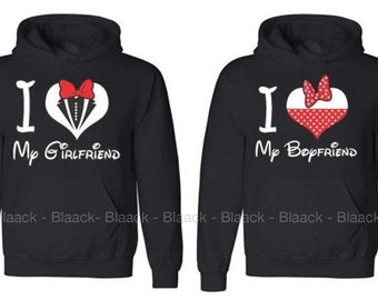 Couple Hoodie - I Love My Girlfriend & Boyfriend - 2 Couple Hodies -  Matching Love Hoodie
