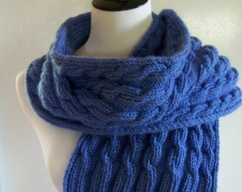 cable knit scarf pattern, blue Cable Scarf, Knit Scarf Pattern, Cable Knit, wrap pattern, neckwarmer pattern, cowl, cable pattern, cowl