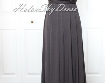 Convertible Infinity Mid length Bridesmaids Dress in grey halter dress
