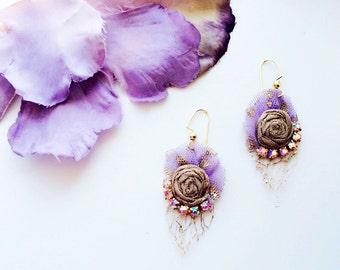 Roses Rhinestone Earrings -Lilac
