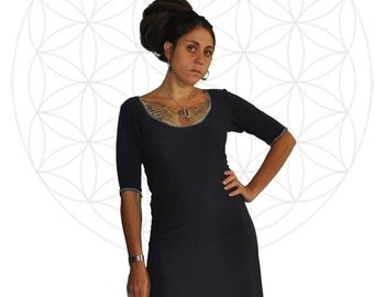 Organic Dress - Organic Bamboo and Cotton Three quarter sleeve dress with Ruffle- Custom made for you
