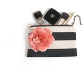 Black Stripe Clutch. Makeup Bag. Bridesmaid Clutches. Monogram Clutch. Wedding Bag. Travel Bag. Summer Wedding. Stripe Bag.  Gift For Her