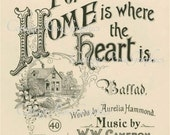 Large digital download Home is where the Heart is Vintage Sheet music cover  BUY 3 get one FREE