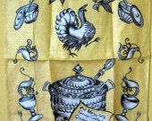 Thanksgiving Tea Towel, Vintage 1960s Silver Service Thanksgiving Dinner Linen Tea Towel in Warm Yellow, Black, Grey, and White