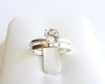 Wedding Ring Set White Topaz Sterling Silver Band Made To Order