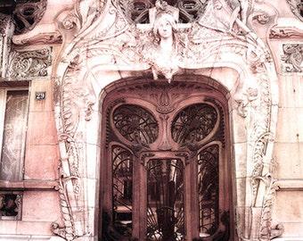 Paris Door Photography, Paris Art Nouveau Door, Paris Romantic Brown Pink Door Art Deco Print, Paris Photography, Paris Romantic Door Prints