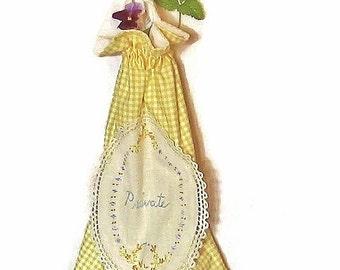 Drawstring bag vintage Doily Yellow white gingham