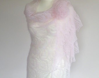 Pink wedding shawl, lace bridal cover up, mohair lace shawl, wedding mohair stole, pink mohair bridal wrap, mohair marriage, lace mohair