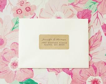 Custom Printed Return Address Labels - Design #02, Calligraphy Address Labels, Wedding Return Address Labels, Brown Kraft Address Labels