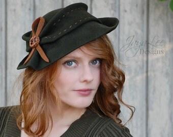 Fedora Hat / Rustic Pine Green / Floppy Felt Tilt Hat