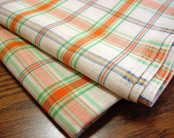 "Vintage 70s Woven Plaid Decorator Fabric -Orange Lime Green Blue Oatmeal 56"" wide"