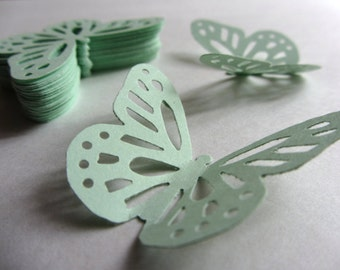 Mint green paper butterflies die cut butterflies mint green die cuts mint wedding decorations mint green weddings pale green pastel green
