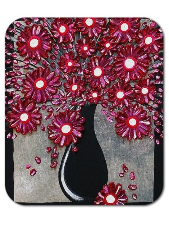 Mousepad Mouse Pad Fine Art Painting Deep Magenta Bouquet Flowers Vase Fuchsia Black