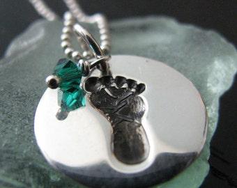 Half Price Footprint Necklace, Swarovski Birthstone Necklace, Pearl Birthstone Necklace, Baby Footprint Necklace, Sterling Ball Chain