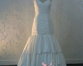 Strapless Sweetheart Ruched Wedding Dress Fit and Flair Trumpet Bridal Gown Custom Made