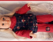 American Girl Doll Top & Pants set red and blue snowman print w headband bow and socks