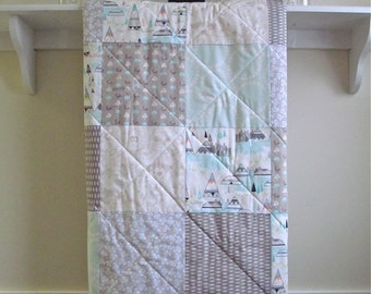 Woodland Baby Quilt  -  Indian Summer Aqua - Pastel Rustic, Aqua, Taupe, White, Forest Animals, Modern Boy Quilt, Deer, Bear, Teepee, Minky