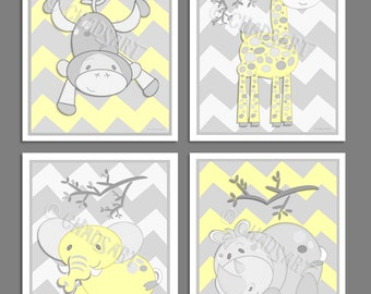 M2M Circo ZIG 'n ZAG Collection Set of 4 Prints Monkey Giraffe Rhino Elephant Safari  Gray & Yellow Chevron Jungle Animals  Kid's Room Decor