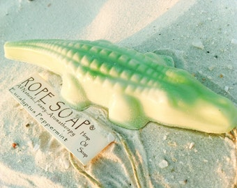 Unique Stocking Filler - Alligator Soap on a Rope - Green Peppermint and Eucalyptus Oil - Gifts for Kids - Coconut Oil Handpoured Soap