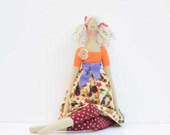 Fabric doll handmade cloth doll cute blonde stuffed doll rag doll child friendy toy Tilda doll autumn harvest doll birthday gift for girls