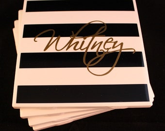 Personalized Coasters with Stripes and Name- set of 4