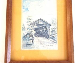 Cedarburg Covered Bridge : Signed Watercolor by Wisconsin Artist Joe Cmeyla