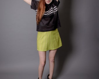 Vintage 90s Lip Service Los Angeles Green and Yellow Vertical Striped Hip Miniskirt Small Medium