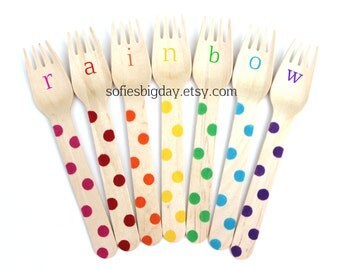 Rainbow Polka Dots Forks-Polka dot forks-polka dot spoons-rainbow dot spoons- rainbow color utensils-rainbow party accessories-rainbow decor